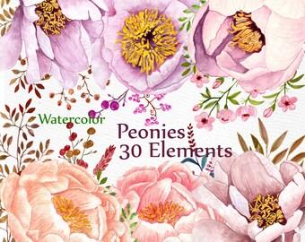 """Watercolor peonies flowers clipart: """"WEDDING CLIPART"""" floral clipart DIY clipart wedding invitations separate flowers handpainted flowers"""