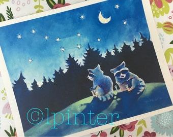 Big Dipper -woodland raccoon watercolor print