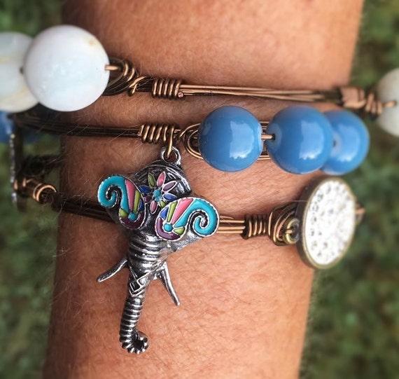 SALE, Elephant Bangle Bracelet, Wire wrapped bangle, Boho bangle bracelet, tassel bracelet, blue bangle, handmade jewelry, New Year Sale