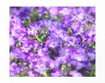 "Purple Art Print, Purple Wall Art, Home Decor, Flower Prints, Fine Art Print, Gift for Friend, Purple Art Print ""Purple Petunias"""