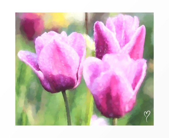 """Floral Wall Art, Floral Prints, Wall Art of Plum Tulips, Floral Decor, Flower Wall Art, Gift for Mom, Plum Wall Decor """"Three Tulips"""""""