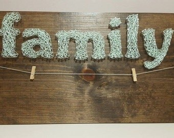 Family String Art Sign with Pictures