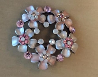 Vintage Floral Brooch Pink Flowers