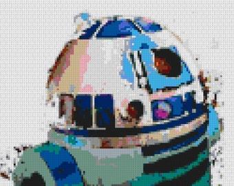 R2D2 Star Wars Lego mosaic poster 16x20