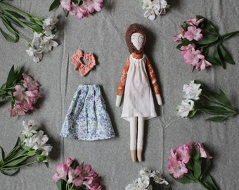 Heirloom Doll Girl with Clothing Play Set - Handmade Dress-up Cloth Art Doll by Liberty Lavender Dolls