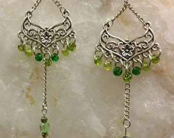 Floral and Green Dangle Earrings
