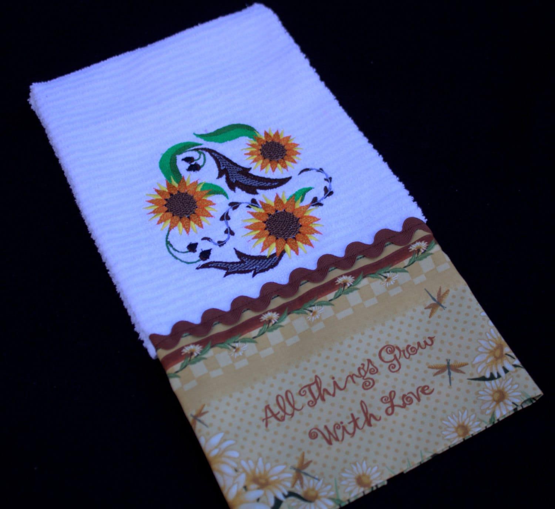 Sunflowers Embroidered Kitchen Towels Kitchen