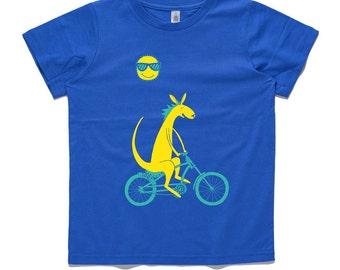 Kangaroo riding bicycle, royal blue, kids t-shirt