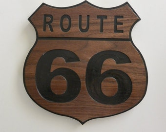 Route 66 Sign carved in Walnut Wood American Made Home Made