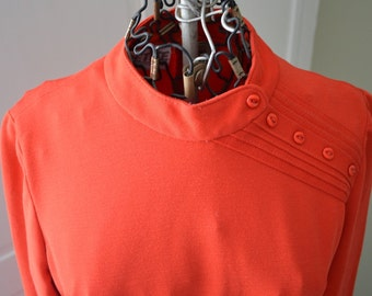 Vintage Red Dress with Belt and Neat Button Details at Shoulder 70s 80s