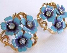 1970's Vintage Avon Love Blossoms Blue Enamel Metal and Rhinestone Flower Earrings, vintage avon, vintage rhinestone earrings,