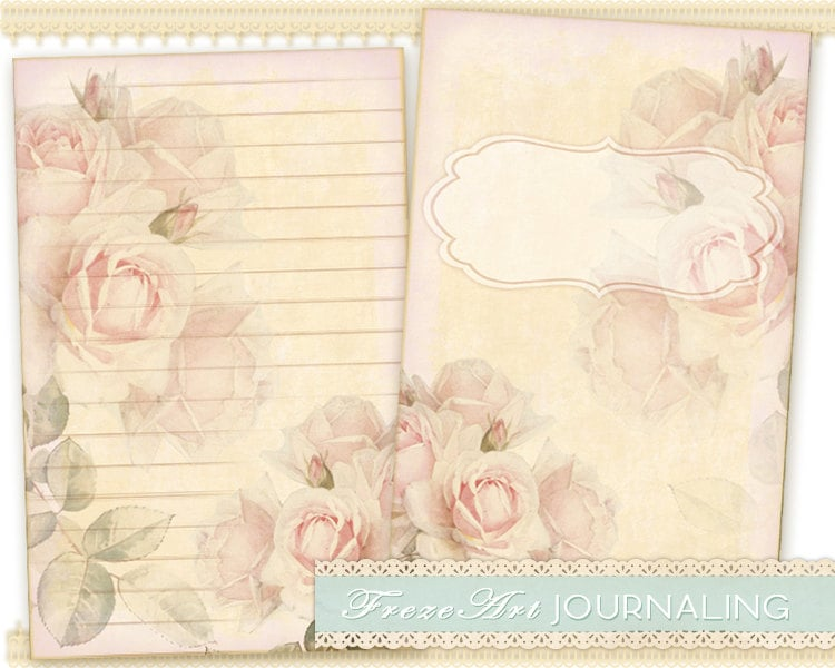 Pink roses Journal Pages Diary Pages printable paper craft – Diary Paper Printable