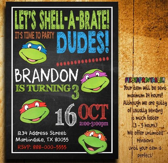 Ninja Turtle Personalized Invitations as nice invitations sample