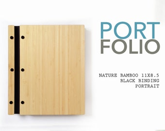 11X8.5 Portrait Natural Bamboo Portfolio Elegant Modern Portfolio Folder Student Photographer Folio Screw Post Portfolio Professional bio