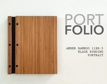 11x85 portrait amber bamboo portfolio elegant modern portfolio folder student photographer folio screw post