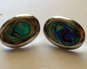 Vintage 925 Sterling Silver Abalobe Pierced Earrings