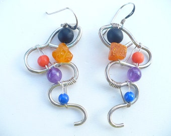 Vintage Sterling Silver Dangle Pierced Earrings With Semi Precious Stone Beads