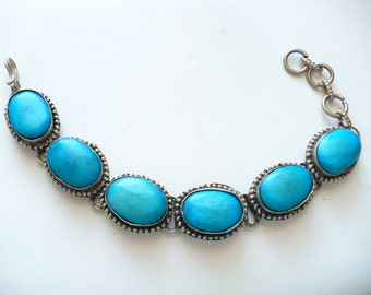 Vintage Turquoise Dyed Natural Material Bead Nickle Silver Bracelet