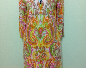 Vintage Psychedelic Dress |70s Style Mini Dress |Orange  Paisley Dress,V Neck,Long Bishop Sleeves | Biba Style |70s Dress |Hippie Dress S 0