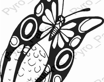 Pyrography Wood burning Butterfly Moon Pattern Printable Stencil Instant Download Pyro_Patterns_butterfly 0263