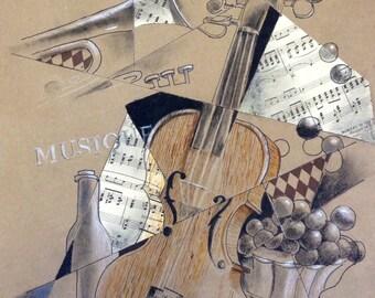 Musical Instruments Giclee Print of Original Mixed Media Painting, Violin Painting, Mixed Media, Giclee Print