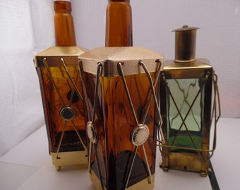 Set of 3 Liquor Decanters, Musical Liquor Decanters, Lantern Decanters, Brass Glass Decanters, How Dry I Am Decanters, Mid Century Barware
