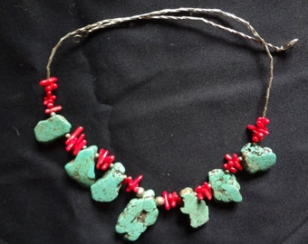 Large Turquoise necklace with red Coral