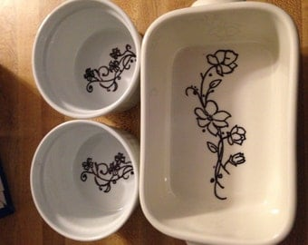 Hand decorated ceramic dishes