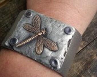 Dragonfly Cuff Upcycled Cuff Leather Cuff