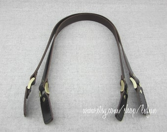 Dark Brown Leather Handles, Bag Handles, Purse Handles, Leather Straps