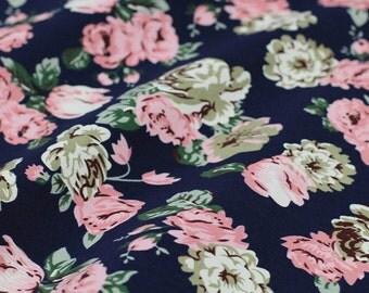 Floral Printed Cotton Fabric Dark Blue FC010G