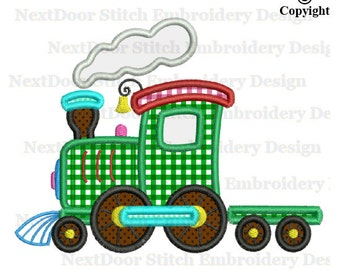 Locomotive train Embroidery Applique, steam steamer engine truck,  vl-012