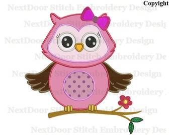 Owl embroidery applique design, pink girl owl hoot bow tie on branch,  owl-007