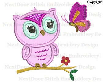 Owl embroidery applique design, cute girl baby owl on branch woodland animals,   owl-053