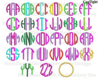 3 letter circle font embroidery design,  A to Z monogram BX files included, font-117x