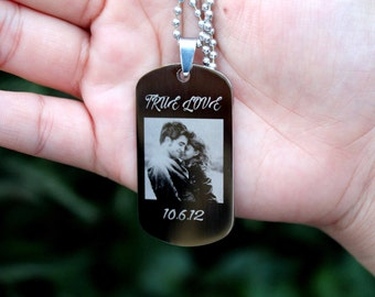 High Resolution Personalize Custom Photo Engrave Dog Tag High Polished Stainless Steel Pendant