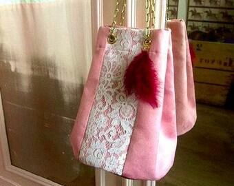 Bag pink purse & lace