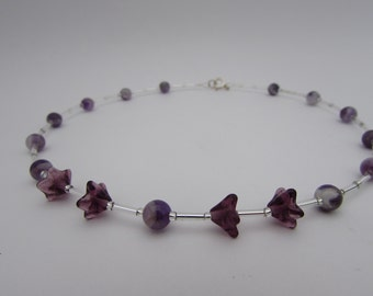 Amethyst & Sterling Silver Necklace. Amethyst Necklace