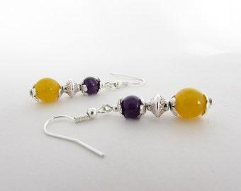 Yellow Quartzite & Amethyst Gemstone Earrings