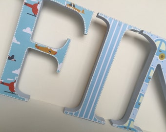 Decorated baby boy wooden letters,boats,cars,balls,trains,planes,nursery decor,free standing,hanging,personalised,baby shower,customised,bab