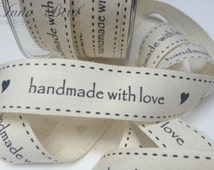 Cotton Ivory Canvas Ribbon with Hearts and Hand Made With Love