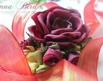 Red Berry Textured Iridescent Glitter Metallic Wired Ribbon One meter