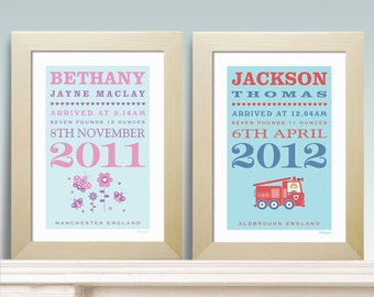New Baby Birth Personalised Print