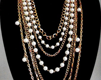 Multi Strand Pearl Necklace, Layered Pearl and Gold Chains, Statement Gold Necklace