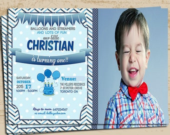 Blue 1st birthday invitation