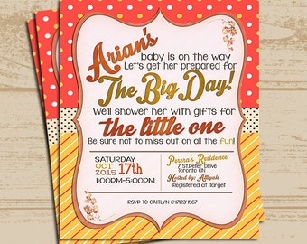 Orange Baby Shower Invitation