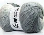 Ice Magic Light Yarn, 35639 Light Gray shades, White, DK Yarn, Ombre yarn
