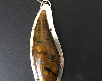 Tiger's Eye Necklace mounted on Sterling Silver Backing TE-15225