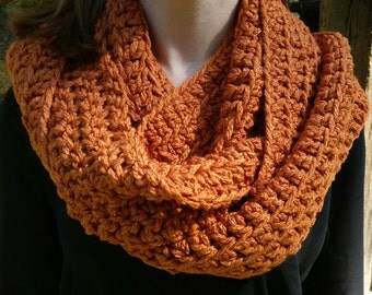 Rustic orange infinity scarf