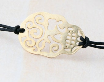 Gold sugar skull bracelet, mexican skull bracelet, gold skull bracelet, day of the dead, mexico, rock bracelet, hallowen bracelet, mejico